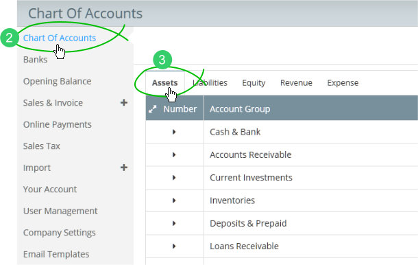 Chart of Accounts in Settings menu